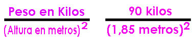 formula indice de masa corporal